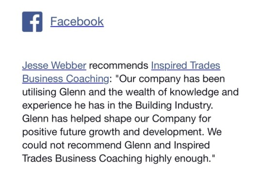 Genuine recommendations from men who have engaged Inspired Trades Business Coaching and seeing huge... photo
